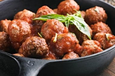 steaming plate of meatballs